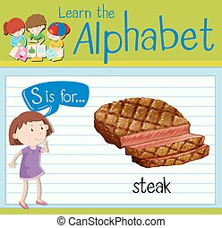 Flashcard letter S is for steak illustration