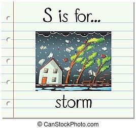 Flashcard letter S is for storm illustration