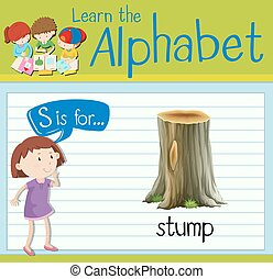 Flashcard letter S is for stump illustration