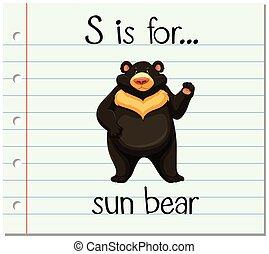 Flashcard letter S is for sun bear