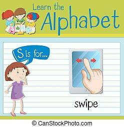 Flashcard letter S is for swipe illustration