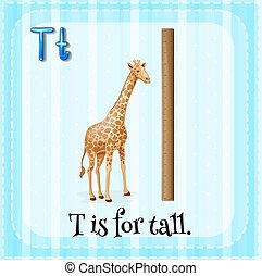 Flashcard letter T is for tall illustration