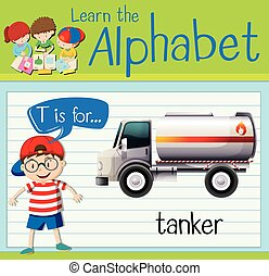 Flashcard letter T is for tanker illustration