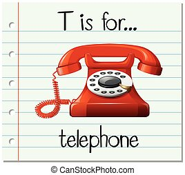 Flashcard letter T is for telephone illustration