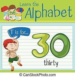 Flashcard letter T is for thirty illustration