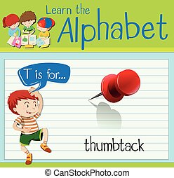 Flashcard letter T is for thumbtack illustration
