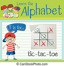 Flashcard letter T is for tic-tac-toe illustration