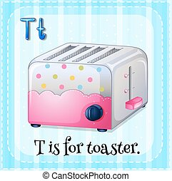 Flashcard letter T is for toaster illustration