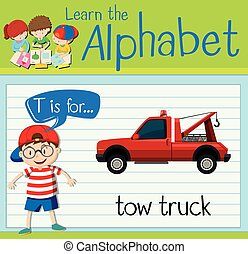 Flashcard letter T is for tow truck illustration