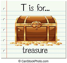 Flashcard letter T is for treasure