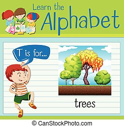 Flashcard letter T is for trees illustration