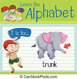 Flashcard letter T is for trunk illustration