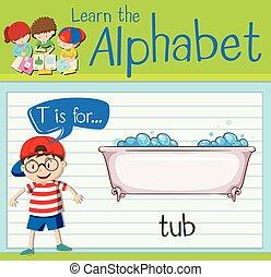 Flashcard letter T is for tub illustration