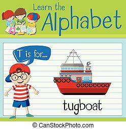 Flashcard letter T is for tugboat illustration