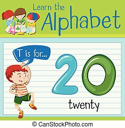 Flashcard letter T is for twenty illustration