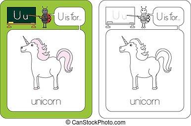 Flashcard for English language - letter U is for unicorn
