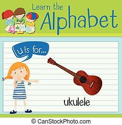 Flashcard letter U is for ukulele illustration