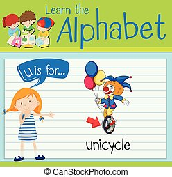 Flashcard letter U is for unicycle illustration