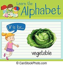 Flashcard letter V is for vegetable illustration
