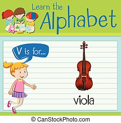 Flashcard letter V is for viola illustration