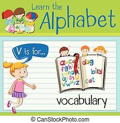Flashcard letter V is for vocabulary illustration