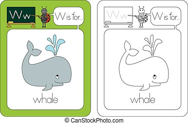 Flashcard for English language - letter W is for whale