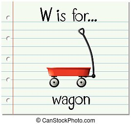 Flashcard letter W is for wagon illustration