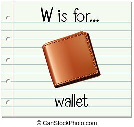 Flashcard letter W is for wallet illustration