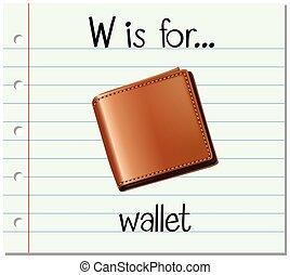 Flashcard letter W is for wallet illustration