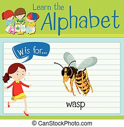 Flashcard letter W is for wasp illustration