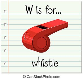 Flashcard letter W is for whistle illustration