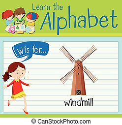 Flashcard letter W is for windmill illustration