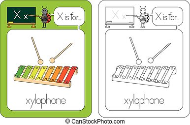 Flashcard for English language - letter X is for xylophone