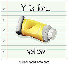 Flashcard letter Y is for yellow illustration