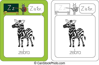 Flashcard for English language - letter Z is for zebra