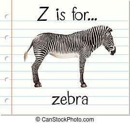 Flashcard letter Z is for zebra illustration