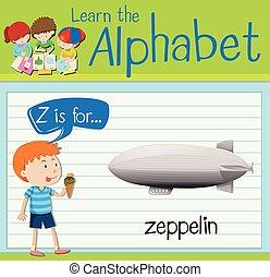 Flashcard letter Z is for zeppelin illustration