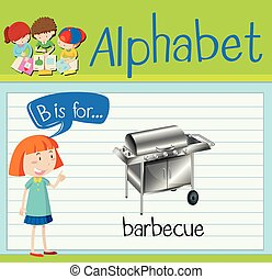 flashcard, lettera b, è, per, barbecue