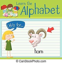 flashcard, lettera h, è, per, corno