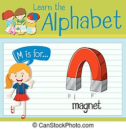 flashcard, litera m, jest, dla, magnes