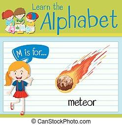 flashcard, m, lettre, météore