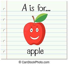flashcard, manzana, carta