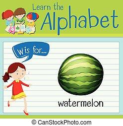 flashcard, melancia, w, letra