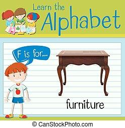 flashcard, meubel, brief f