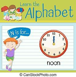 flashcard, mezzogiorno, lettera n