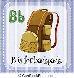 flashcard, mochila, b, letra