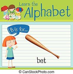 flashcard, morcego, b, letra