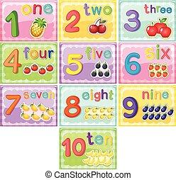flashcard, nombre, dix, une