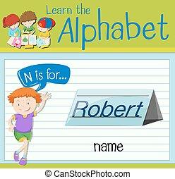 flashcard, nome, lettera n