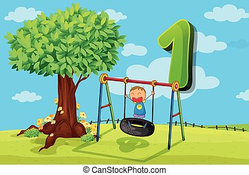 Flashcard number 1 with one children in the park